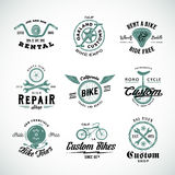 Retro Bicycle Vector Labels or Logo Templates Set Royalty Free Stock Images