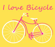 Retro bicycle on a yellow background. Flat design I love bicycle Royalty Free Stock Photography