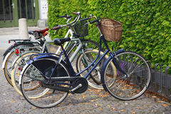 Retro bicycles bikes. Retro parked bicycles / bikes with baskets. The eco way to travel royalty free stock image
