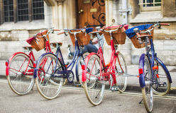 Retro bicycles bikes. Retro parked bicycles / bikes with baskets. The eco way to travel royalty free stock photo