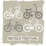 Retro bicycles. With grey background. Stylish postcard for your designs. Vector image Stock Photos