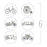 Retro bicycles icons collection isolated on white background Stock Photos