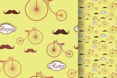 Retro bicykl i wąs, bezszwowy wzór, roczników elementów tło ilustracja wektor
