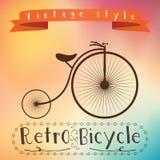 Retro bicykl na colorfull tle Tekst w vinage ramie ilustracja wektor