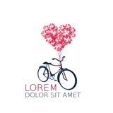 Retro bicykl z serce balonem Zdjęcia Royalty Free