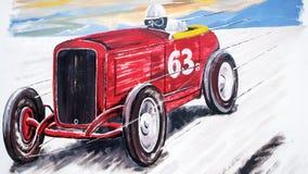 Retro bieżnego samochodu obraz ilustracji
