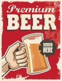 Retro- Bierplakat der Weinlese Stockbild