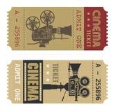 Retro biglietto del cinematografo Fotografia Stock