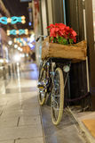 Retro bike on Christmas in the city Royalty Free Stock Images