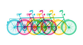 Retro bike concept silhouette bicycle colorful Stock Images