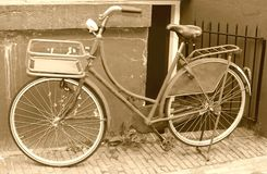 Characteristic retro bike in sepia,Amsterdam,NL Stock Photography