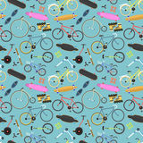 Retro bike pattern vector background. Stock Photos