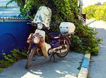 Retro bike on a street. Retro bike on a city street Royalty Free Stock Image