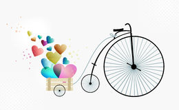 Retro bike taking love Royalty Free Stock Image