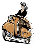Retro Bike Vector. Women Riding available in eps suitable for sticker, t-shirt, mug, magazine, website, etc Royalty Free Stock Images