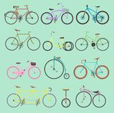 Retro bike vintage vector old-fashioned girls and hipster transport ride vehicle bicycles summer transportation for. Bikers sport modern street outdoor travel Royalty Free Stock Image