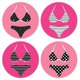 Retro bikinipictogrammen Stock Fotografie