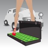retro bil En gåva från sponsorn av en könsbestämmahusmor vektor illustrationer