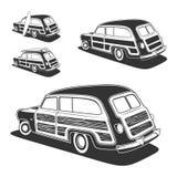Retro bil för surfingbrädawoodievagn royaltyfri illustrationer