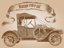 Retro bil för tappning som kläcker handteckningen Vektor Illustrationer