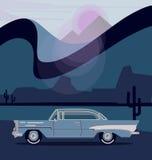 Retro bil för vektor Moderiktig plan design för turism Arkivfoton