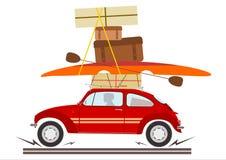 Retro bil med turist- utrustning. stock illustrationer