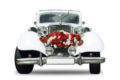 Retro bil Mercedes - isolerat objekt för vitt bröllop arkivfoton