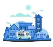 Retro bilbakgrund för vektor Plan design Mjölka lastbilen på cityscape Arkivbilder