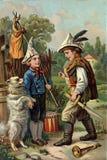 Retro bild av att spela för barn stock illustrationer
