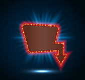Retro billboard shining blue with space for text blue background Royalty Free Stock Photo