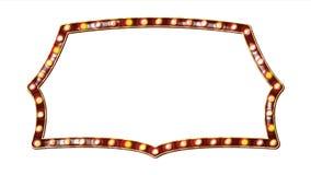 Retro billboardu wektor Realistyczna połysk lampy rama 3D Elektryczny Rozjarzony element Rocznika Złoty Iluminujący Neonowy świat ilustracji