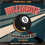 Retro Billiard Tournament  Poster. Retro Style Billiard Poster for billiard Tournament Royalty Free Stock Photos