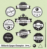Retro Billiards League Labels and Stickers. Collection of vintage style billiards league champions labels and badges Stock Image