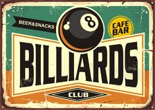 Retro billiards sign design. With black eight ball on green background. Billiard club poster design.  Snooker promotional ad Stock Images