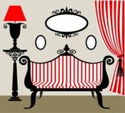 Retro binnenland in zwart en rood Royalty-vrije Stock Afbeeldingen