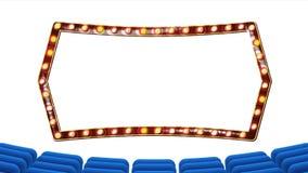 Retro Bioskoopvector Theatergordijn, Kader Gloeilampen Blauwe zijdetextiel Glanzende retro lichte banner Gouden frame vector illustratie