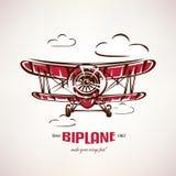 Retro biplan, rocznika samolotowy wektorowy symbol Obraz Stock