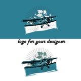 Retro biplane illustration. Retro biplane vintage illustration set, logo background Stock Images