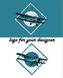 Retro biplane illustration. Retro biplane vintage illustration set, logo background Stock Photography