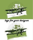 Retro biplane illustration. Retro biplane vintage illustration set, logo background Royalty Free Stock Image