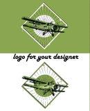 Retro biplane illustration. Retro biplane vintage illustration set, logo background Royalty Free Stock Photography