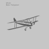 Retro biplane plane vector. Vintage aircraft. Small plane  vector illustration Royalty Free Stock Photo