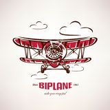 Retro biplane, vintage airplane vector symbol Stock Image