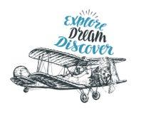 Retro biplano Schizzo dell'aeroplano Illustrazione di vettore di viaggio Immagine Stock