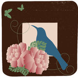 Retro bird. Retro stylized bird with roses in frame vector illustration
