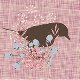 Retro bird. Retro stylized hand made bird and flowers Stock Illustration