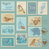 Retro Bird Postage Stamps Royalty Free Stock Photography
