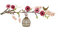 Retro birdcage. Illustration of a decorative background with a retro birdcage and flowers Royalty Free Stock Photography