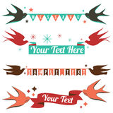 Retro Birds and Banners Royalty Free Stock Images