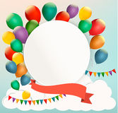 Retro birthday background with colorful balloons. Royalty Free Stock Image